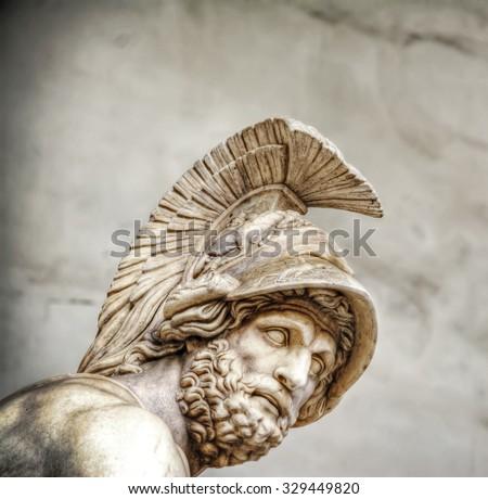 Menelao head in Patroclo and Menelao statue in Loggia de Lanzi, Florence - stock photo