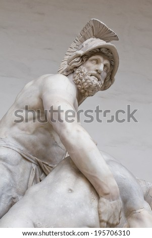 Menelaus supporting the body of patroclus  statue in florence italy - stock photo