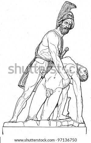 Menelaus with the corpse of Patroclus, sculpture, Florence, Italy - an illustration of the encyclopedia publishers Education, St. Petersburg, Russian Empire, 1896 - stock photo