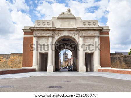Menin Gate -  World War I memorial  inscribed with 54,896 names in city Ypres, Belgium, unveiled on 24 July 1927 - stock photo