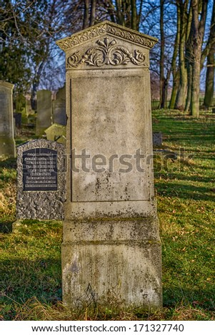 Mennonite cemetery in northern Poland from the nineteenth century, during sunset - stock photo
