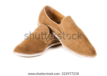Mens beige, elegant shoes, nubuck on a white background - stock photo