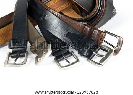 Mens belts isolated on white background. - stock photo
