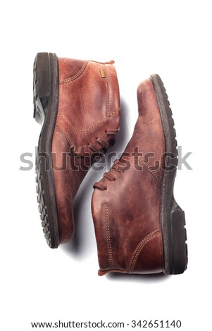 Mens brown shoes isolated on white background - stock photo