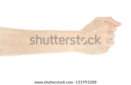 Mens hand with fingers folded into a fist. Isolated on white background - stock photo
