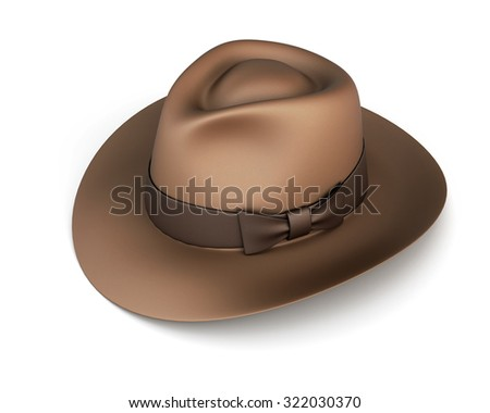Mens hat with a bow isolated on white background. 3d render image. - stock photo