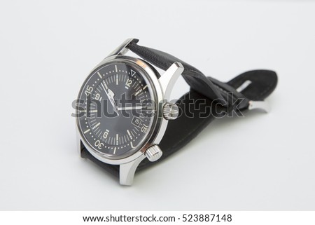 Diver Watch With Black Face Brown Shoes