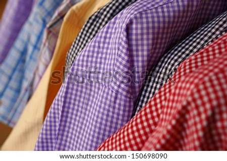 Mens plaid shirts in different colors - stock photo
