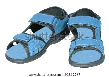 mens sandals blue isolated white background