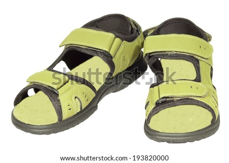 mens sandals green isolated white background