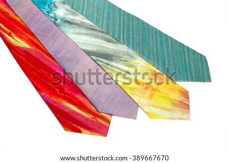Mens silk neckties on white background - stock photo