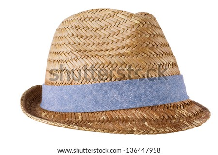 Mens straw hat isolated on white - stock photo