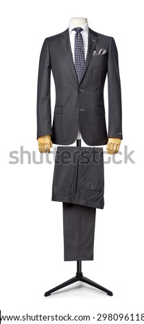 mens suit isolated on white. with a clipping path. - stock photo