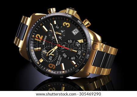 Mens swiss mechanical golden wrist watch with gold wristband and black dial, tachymeter, chronograph on dark reflection plane. Illustration 3d - stock photo