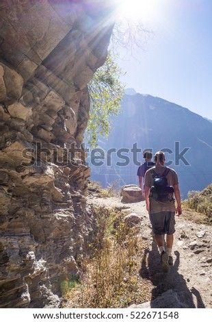 mens trekking in tiger leaping gorge,Lijiang,China