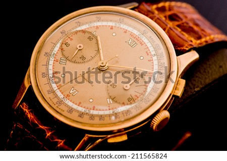 Mens wrist watch on black background,Classic watch on black background