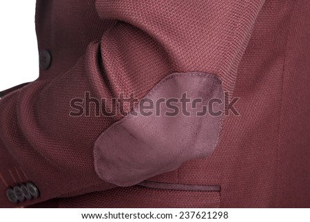 Menswear, Close-up fragment of the male crimson jacket suit, a patch on the elbow.