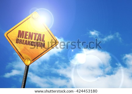 mental breakdown, 3D rendering, a yellow road sign - stock photo
