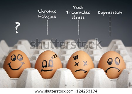 Mental health concept in playful style with egg characters