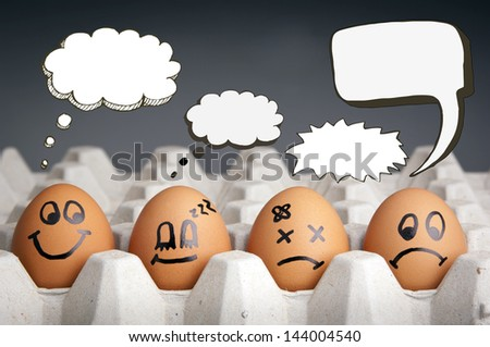 Mental health concept in playful style with egg characters displaying different emotions and blank speech bubbles - stock photo