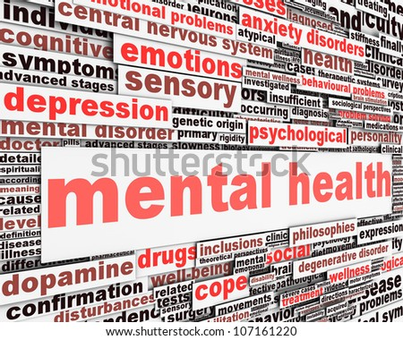 Mental health message concept. Psychological symbol design - stock photo