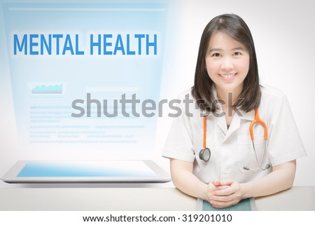 mental health service concept with smiling doctor and medical information - stock photo