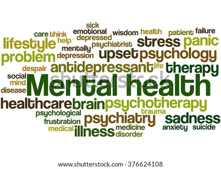 Mental health, word cloud concept on white background. - stock photo