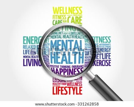 Mental health word cloud with magnifying glass, health concept - stock photo