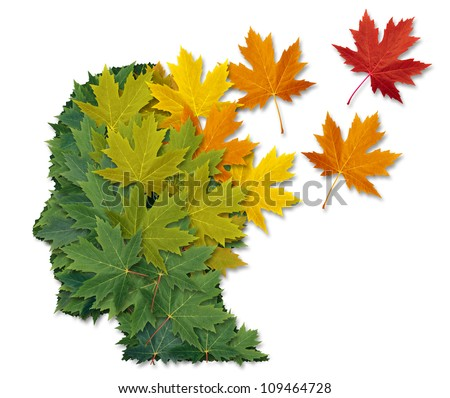 Mental illness and Alzheimer's disease as a health care and medical symbol with a human head made of green leaves turning to falling autumn foliage lost in to the wind. - stock photo