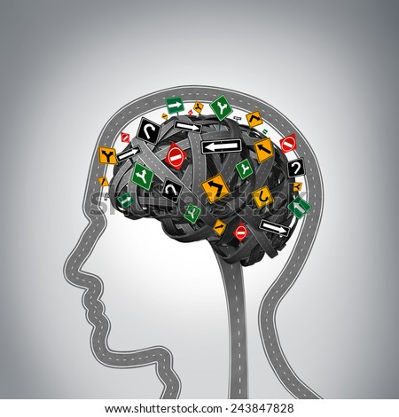 Mental stress and brain health problems as a group of roads and streets shaped as a human head and mind with confused traffic signs as a symbol for psychological issues. - stock photo