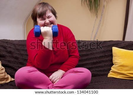 mentally disabled woman can achieve anything - stock photo