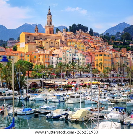 Menton, a historical town on French Riviera near Monaco, France - stock photo