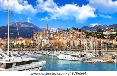 Menton - beautiful town in south of France - stock photo