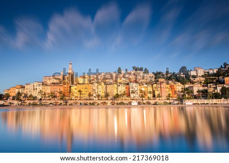 Menton city, French Riviera cote azur - stock photo