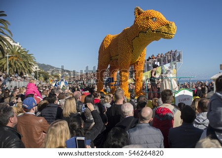MENTON, FRANCE-February 21,2016: People visits lemon sculptures of Lemons Festival in Menton, France