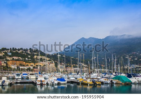MENTON, FRANCE - OCT 15, 2013. View yachts moored in the city's port