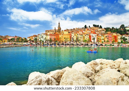 Menton - sunny town in south of France - stock photo