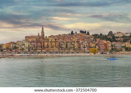 Menton town in a colorful houses at summer in south of France