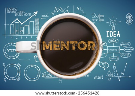 mentor. coffee cup with business sketches background - stock photo