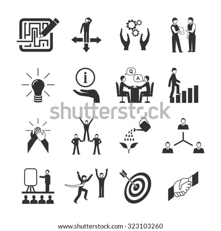 Mentoring black icons set with goal teamwork guidance symbols isolated  illustration - stock photo