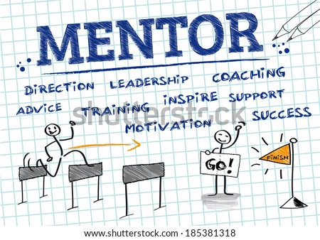 Mentorship is a personal developmental relationship in which a more experienced or more knowledgeable person helps to guide a less experienced or less knowledgeable person - stock photo