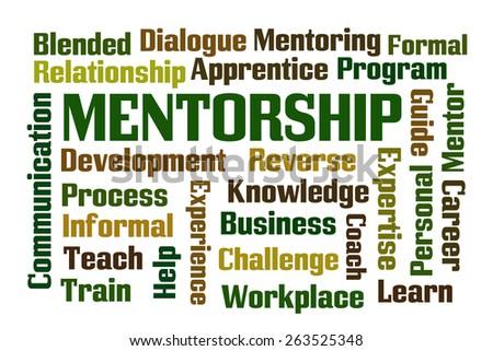 Mentorship word cloud on white background - stock photo
