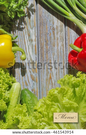 Menu backgound with fresh vegetables