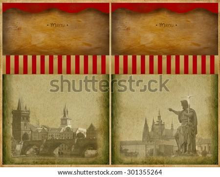 Menu background with view of Prague - stock photo