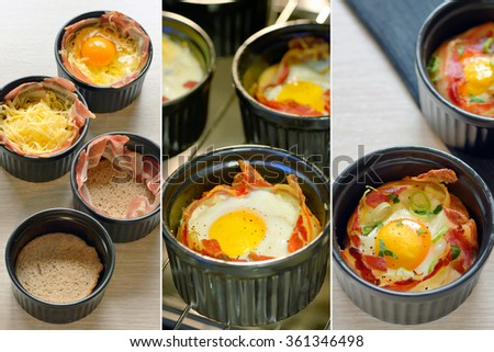 Menu breakfast cups egg with bacon - stock photo