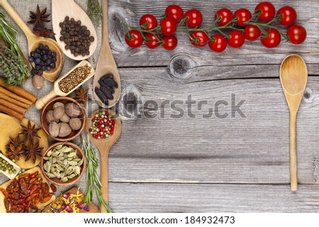 Menu card in a country style with spices and herbs