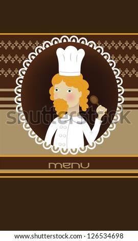 Menu card with cooker with spoon and orange hair and mustache - stock photo