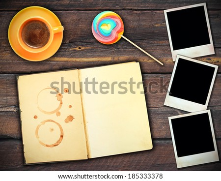 Menu coffee house vintage wooden background  - stock photo