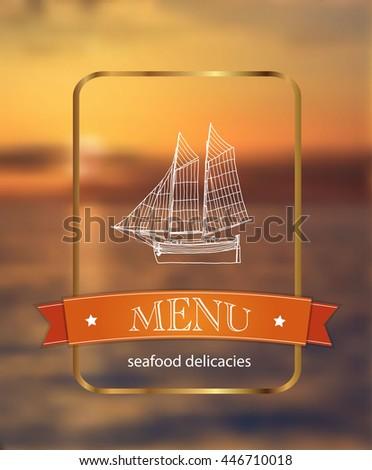 menu. fish restaurant - stock photo