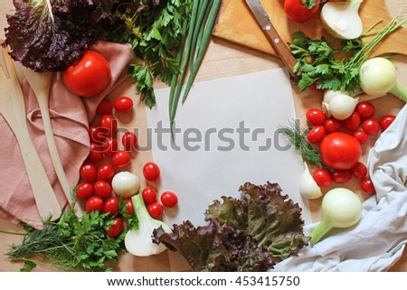 Menu, food recipe, paper and vegetables, culinary background